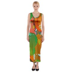 Background Colorful Abstract Fitted Maxi Dress