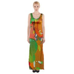 Background Colorful Abstract Maxi Thigh Split Dress
