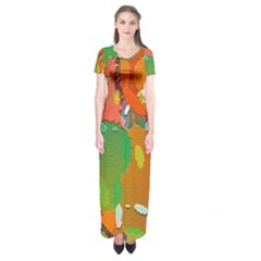 Background Colorful Abstract Short Sleeve Maxi Dress
