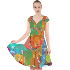 Background Colorful Abstract Cap Sleeve Front Wrap Midi Dress
