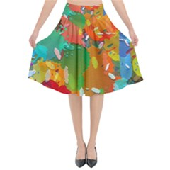 Background Colorful Abstract Flared Midi Skirt