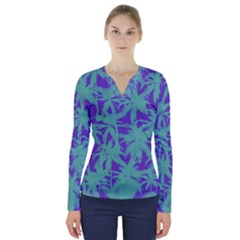 Electric Palm Tree V Neck Long Sleeve Top by jumpercat