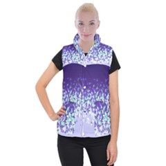 Purple Disintegrate Women s Button Up Puffer Vest