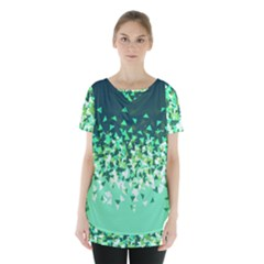 Green Disintegrate Skirt Hem Sports Top by jumpercat