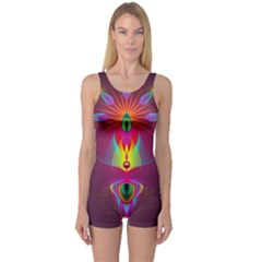 Abstract Bright Colorful Background One Piece Boyleg Swimsuit