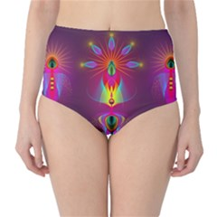 Abstract Bright Colorful Background High Waist Bikini Bottoms