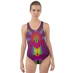 Abstract Bright Colorful Background Cut Out Back One Piece Swimsuit
