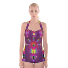 Abstract Bright Colorful Background Boyleg Halter Swimsuit