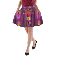 Abstract Bright Colorful Background A Line Pocket Skirt