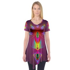 Abstract Bright Colorful Background Short Sleeve Tunic