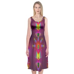 Abstract Bright Colorful Background Midi Sleeveless Dress