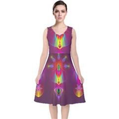 Abstract Bright Colorful Background V Neck Midi Sleeveless Dress
