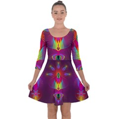 Abstract Bright Colorful Background Quarter Sleeve Skater Dress
