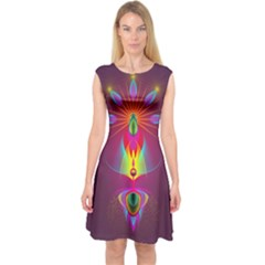 Abstract Bright Colorful Background Capsleeve Midi Dress