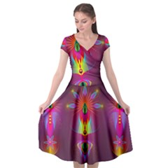 Abstract Bright Colorful Background Cap Sleeve Wrap Front Dress