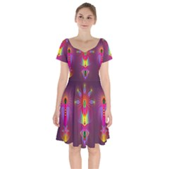 Abstract Bright Colorful Background Short Sleeve Bardot Dress