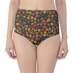 Pattern Background Ethnic Tribal High Waist Bikini Bottoms