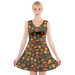 Pattern Background Ethnic Tribal V Neck Sleeveless Skater Dress