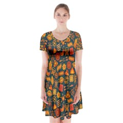 Pattern Background Ethnic Tribal Short Sleeve V Neck Flare Dress