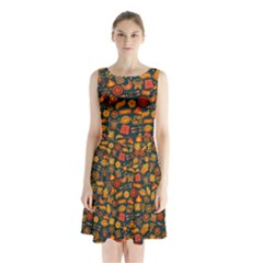 Pattern Background Ethnic Tribal Sleeveless Waist Tie Chiffon Dress