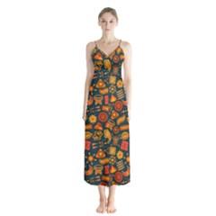 Pattern Background Ethnic Tribal Button Up Chiffon Maxi Dress