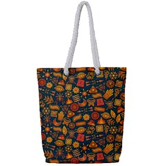 Pattern Background Ethnic Tribal Full Print Rope Handle Tote (small) by Nexatart