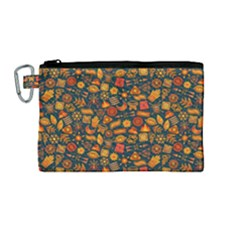 Pattern Background Ethnic Tribal Canvas Cosmetic Bag (medium)
