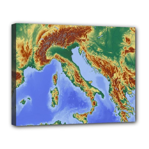 Italy Alpine Alpine Region Map Canvas 14  X 11