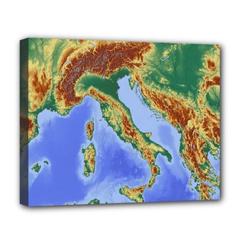 Italy Alpine Alpine Region Map Deluxe Canvas 20  X 16