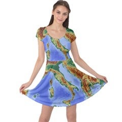 Italy Alpine Alpine Region Map Cap Sleeve Dress
