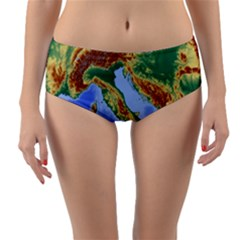 Italy Alpine Alpine Region Map Reversible Mid Waist Bikini Bottoms