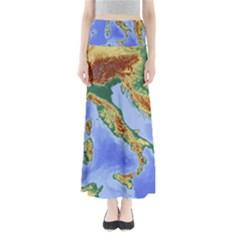Italy Alpine Alpine Region Map Full Length Maxi Skirt