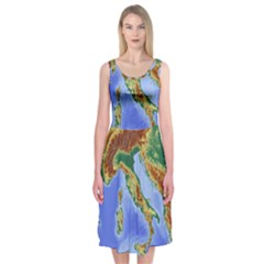 Italy Alpine Alpine Region Map Midi Sleeveless Dress