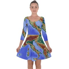 Italy Alpine Alpine Region Map Quarter Sleeve Skater Dress