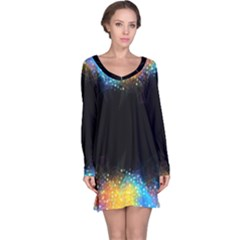 Frame Border Feathery Blurs Design Long Sleeve Nightdress