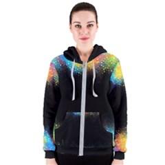 Frame Border Feathery Blurs Design Women s Zipper Hoodie
