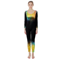 Frame Border Feathery Blurs Design Long Sleeve Catsuit