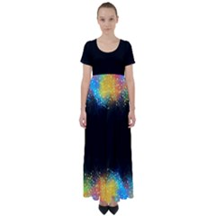Frame Border Feathery Blurs Design High Waist Short Sleeve Maxi Dress