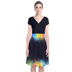 Frame Border Feathery Blurs Design Short Sleeve Front Wrap Dress