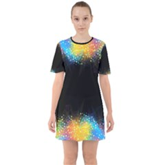 Frame Border Feathery Blurs Design Sixties Short Sleeve Mini Dress