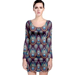 Seamless Pattern Pattern Long Sleeve Bodycon Dress