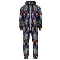 Seamless Pattern Pattern Hooded Jumpsuit (men)