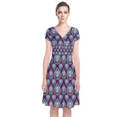Seamless Pattern Pattern Short Sleeve Front Wrap Dress