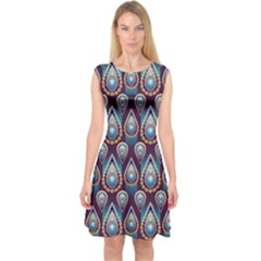 Seamless Pattern Pattern Capsleeve Midi Dress