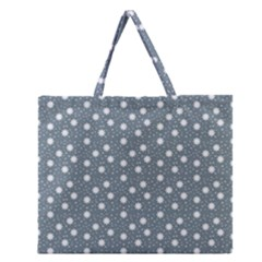 Floral Dots Blue Zipper Large Tote Bag
