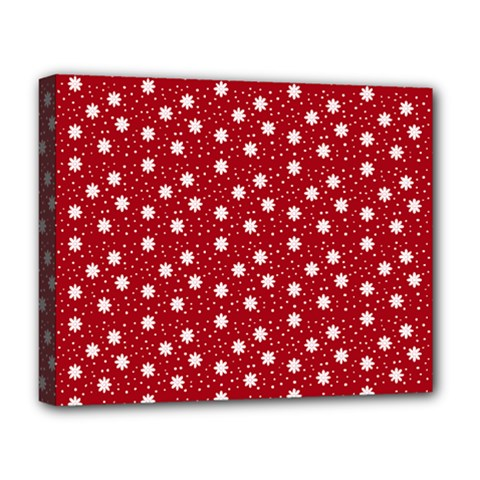 Floral Dots Red Deluxe Canvas 20  X 16   by snowwhitegirl