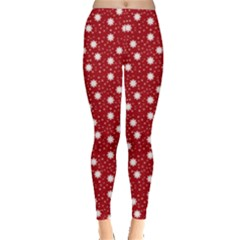 Floral Dots Red Leggings  by snowwhitegirl
