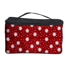 Floral Dots Red Cosmetic Storage Case by snowwhitegirl