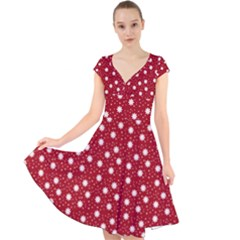 Floral Dots Red Cap Sleeve Front Wrap Midi Dress