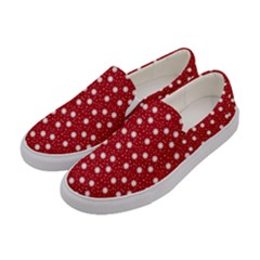 Floral Dots Red Women s Canvas Slip Ons by snowwhitegirl